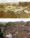 View over Church Lane from the Church tower – then and now