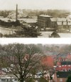 View over Wright's factory from the Church tower – then and now