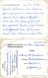 Card from Quorn Prisoner of War Camp to Germany, 3rd June 1946